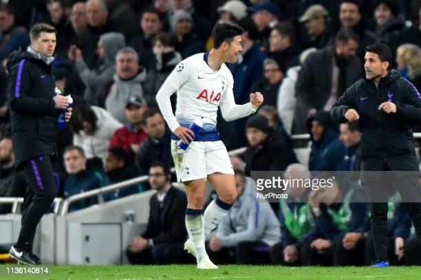 Tottenham forward Heung-Min Son celebrates his goal during the UEFA Champions League Quarter Final 1st Leg match between Tottenham Hotspur and...