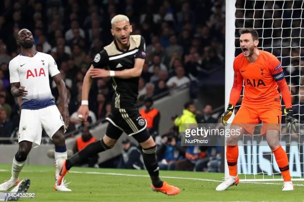 Tottenham goalkeeper Hugo Lloris screams at his defence during the UEFA Champions League match between Tottenham Hotspur and Ajax Amsterdam at White...
