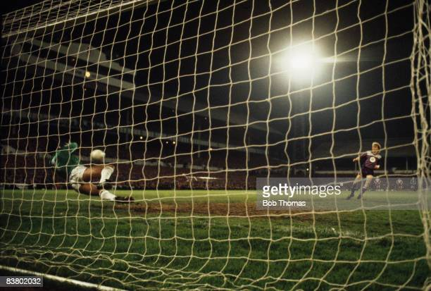 Tottenham goalkeeper Tony Parks saves a penalty from Anderlecht's Morten Osen during the shoot out to decide the UEFA Cup Final at White Hart Lane...