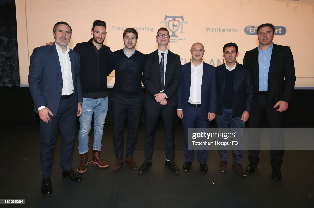 Tottenham goalkeeping coach Toni Jimenez, club captain Hugo Lloris, manager Mauricio Pochettino, director of 'The Lane Luke Mellows, chairman Daniel Levy, assistant manager Jesus Perez and head coach Miguel D'Agostino during the premiere of 'The Lane' documentary film at BT Sport Studios on November 30, 2017 in Stratford, England.