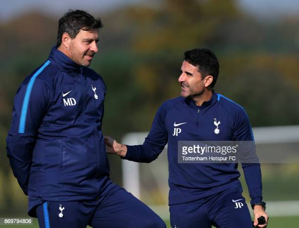 Tottenham head coach Miguel D'Agostino and assistant manager Jesus Perez during the Tottenham Hotspur training session at Tottenham Hotspur Training...