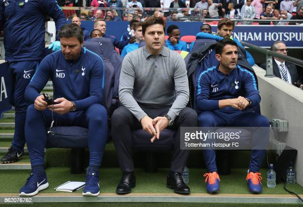 Tottenham head coach Miguel D'Agostino manager Mauricio Pochettino and Assistant manager Jesus Perez during the Premier League match between...