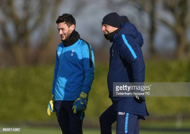 Tottenham head coach Miguel D'Agostino with Hugo Lloris during the Tottenham Hotspur training session at Tottenham Hotspur Training Centre on...