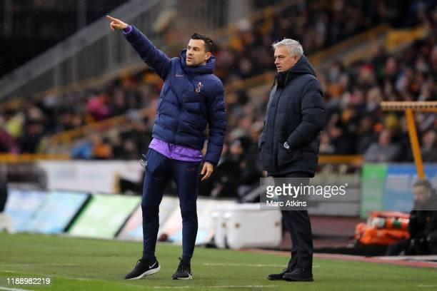 Tottenham Hotspur assistant coach Joao Sacramento alongside Jose Mourinho during the Premier League match between Wolverhampton Wanderers and...