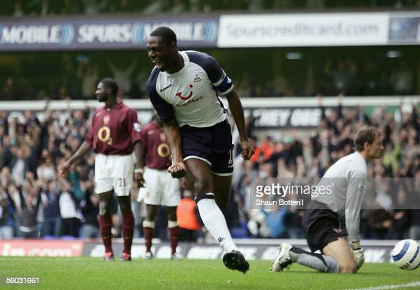 Tottenham Hotspur captain Ledley King celebrates after scoring the opening goal during their Barclays Premiership match against Arsenal at White Hart...