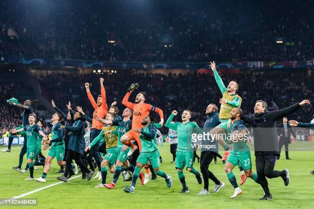Tottenham Hotspur celebrate the victory during the UEFA Champions League semi final match Ajax Amsterdam and Tottenham Hotspur FC at the Johan...