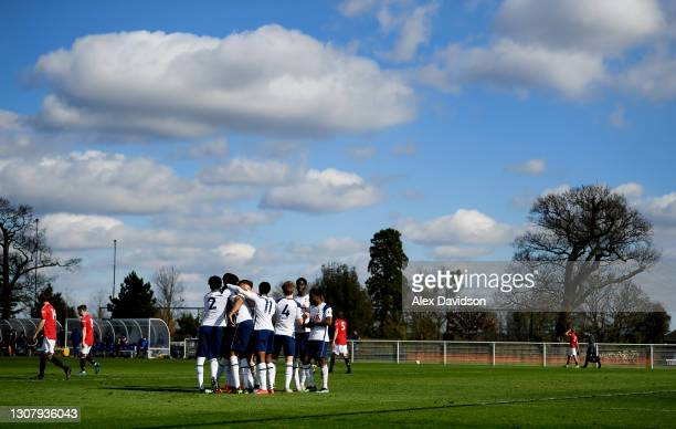 Tottenham Hotspur celebrate their 3rd goal during the Premier League 2 match between Tottenham Hotspur and Manchester United at Tottenham Hotspur...