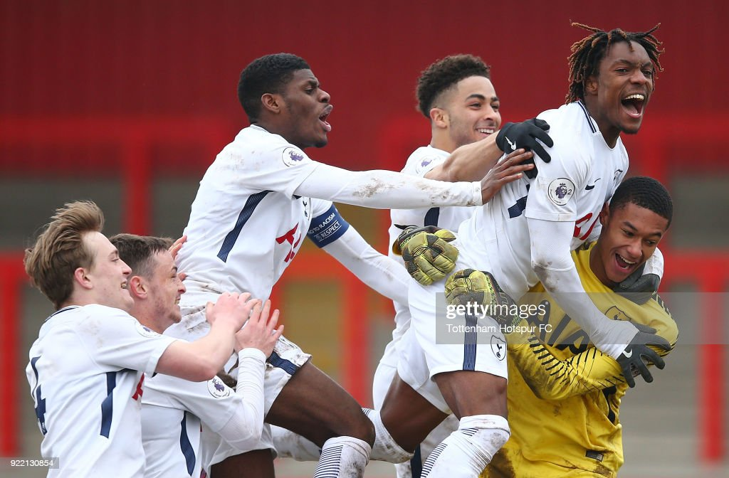 Tottenham Hotspur celebrate winning 3-1 in penalties at The Lamex Stadium on February 21, 2018 in Stevenage, England.