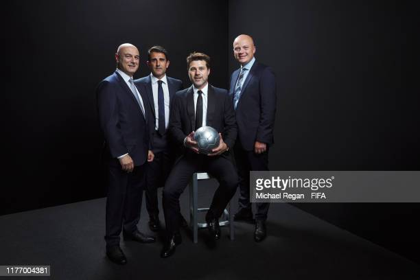 Tottenham Hotspur chairman Daniel Levy assistant manager Jesus Perez manager Mauricio Pochettino and chief scout Steve Hitchen pose for a portrait in...