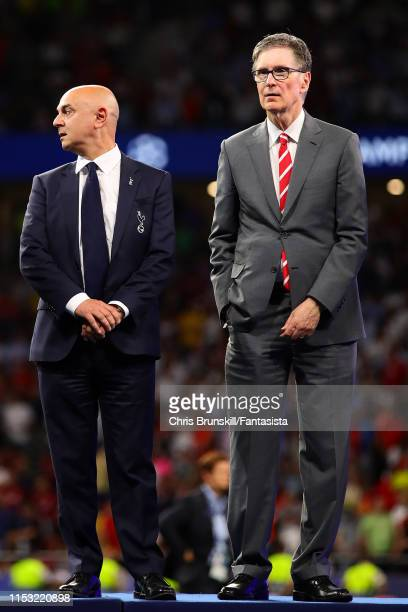 Tottenham Hotspur chief-executive Daniel Levy looks on next to Liverpool owner John Henry following the UEFA Champions League Final between Tottenham...