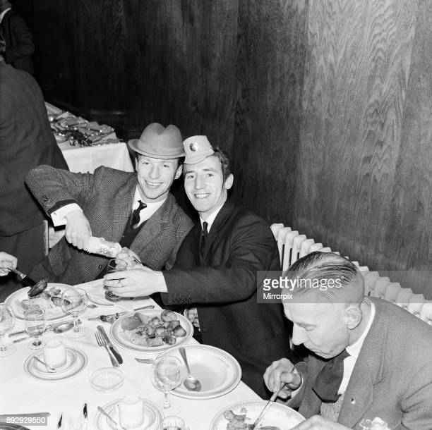 Tottenham Hotspur Christmas Party 19th December 1961 Cliff Jones wearing party hat pulling a Christmas cracker