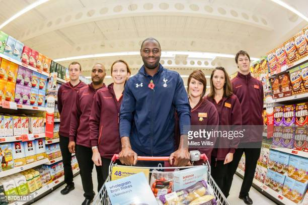 Tottenham Hotspur club ambassador Ledley King shops to mark the opening of a new Sainsbury's superstore at the Tottenham Hotspur Stadium development...