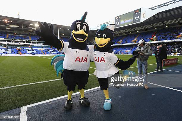 Tottenham Hotspur club mascots Lilly and Chirpy pose for the camera prior to the Emirates FA Cup Fourth Round match between Tottenham Hotspur and...