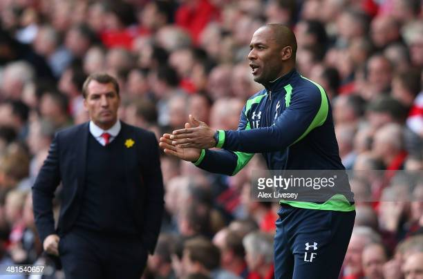 Tottenham Hotspur Coach Les Ferdinand issues orders during the Barclays Premier League match between Liverpool and Tottenham Hotspur at Anfield on...