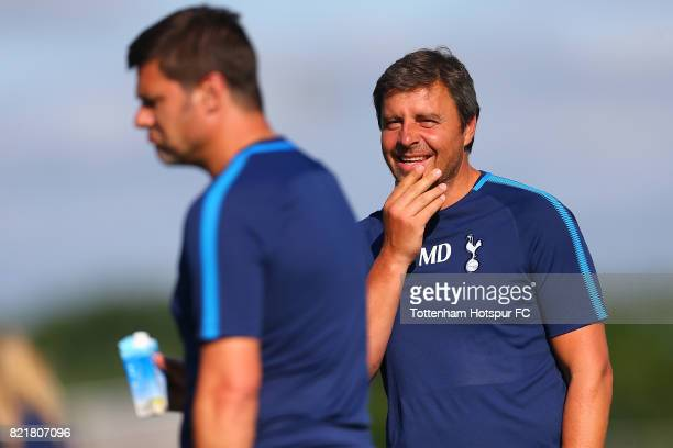 Tottenham Hotspur Coach Miguel D'Agostino looks on during their training session at the New York Red Bull Training Facility on July 24 2017 in...