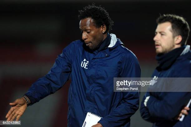 Tottenham Hotspur Coach Ugo Ehiogu during the Premier League 2 match between Tottenham Hotspur and Sunderland at The Lamex Stadium on February 20...