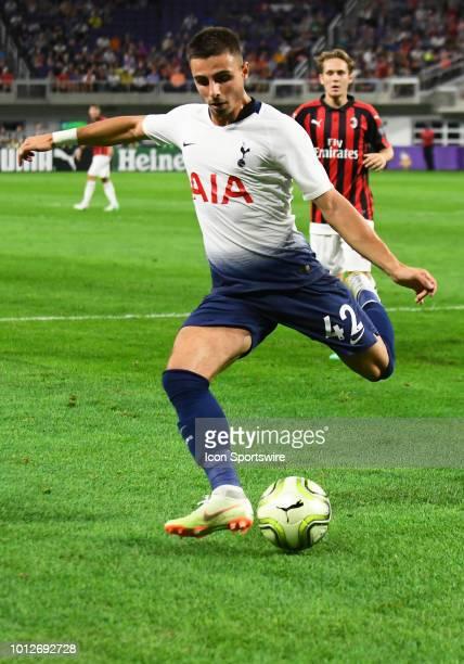 Tottenham Hotspur defender Anthony Georgiou kicks the ball during an International Champions Cup match between Tottenham Hotspur FC and AC Milan on...