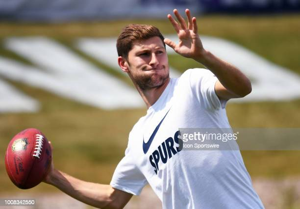 Tottenham Hotspur defender Jan Vertonghen throws a pass during training camp on July 30 2018 at Twin Cities Orthopedics Performance Center in Eagan MN