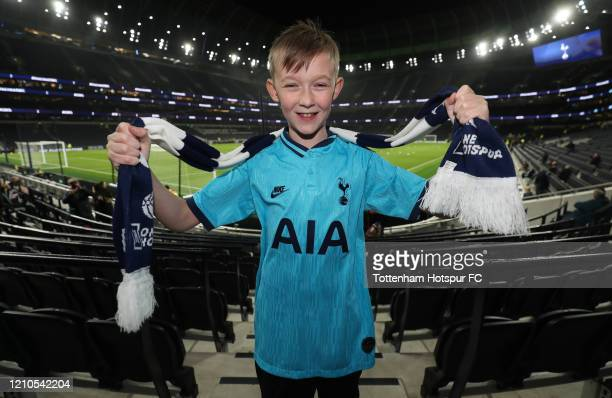 Tottenham Hotspur fan during the FA Cup Fifth Round match between Tottenham Hotspur and Norwich City at Tottenham Hotspur Stadium on March 04 2020 in...