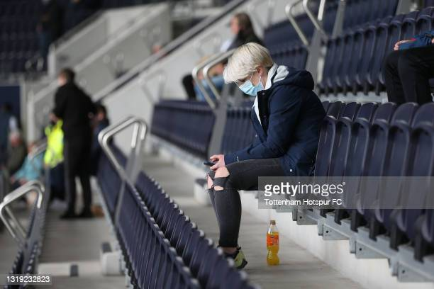 Tottenham Hotspur fan during the Premier League match between Tottenham Hotspur and Aston Villa at Tottenham Hotspur Stadium on May 19, 2021 in...
