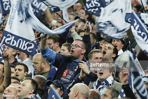 Tottenham Hotspur fans celebrate victory following the Carling Cup Final between Tottenham Hotspur and Chelsea at Wembley Stadium on February 24 2008...