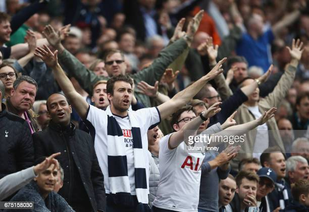 Tottenham Hotspur fans chant during the Premier League match between Tottenham Hotspur and Arsenal at White Hart Lane on April 30 2017 in London...