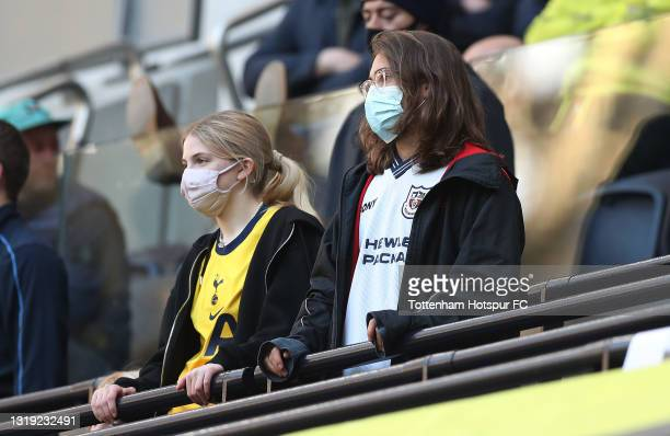 Tottenham Hotspur fans during the Premier League match between Tottenham Hotspur and Aston Villa at Tottenham Hotspur Stadium on May 19, 2021 in...