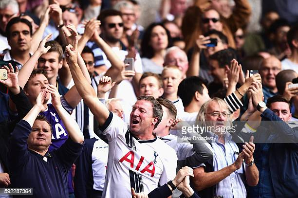 Tottenham Hotspur fans during the Premier League match between Tottenham Hotspur and Crystal Palace at White Hart Lane on August 20 2016 in London...