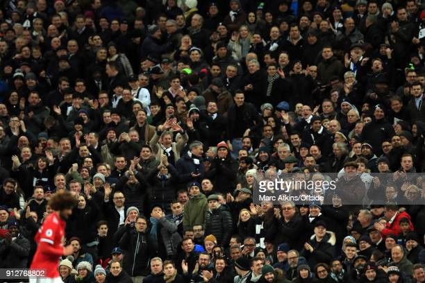 Tottenham Hotspur fans jeer Marouane Fellaini of Manchester United as he s substituted having only been on the pitch a few minutes during the Premier...
