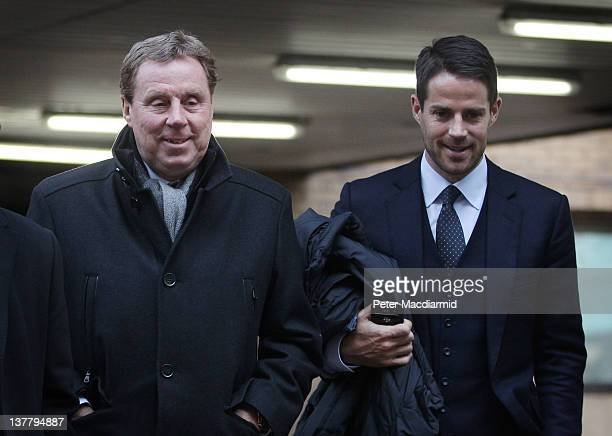 Tottenham Hotspur FC manager Harry Redknapp leaves Southwark Crown Court with his son Jamie Redknapp on January 27 2012 in London England Football...
