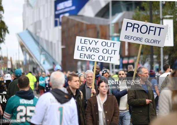 Tottenham Hotspur FC protest is seen ahead of the NFL London 2021 match between Miami Dolphins and Jacksonville Jaguars at Tottenham Hotspur Stadium...