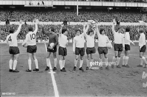 Tottenham Hotspur FC soccer players with the Football League Cup trophy which they won against Aston Villa FC at Wembley Stadium London UK 27th...