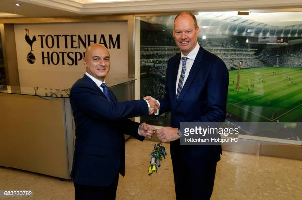 Tottenham Hotspur Football Club Chairmain Daniel Levy hands over the keys to White Hart Lane to Mark Reynolds CEO of Mace at White Hart Lane on May...