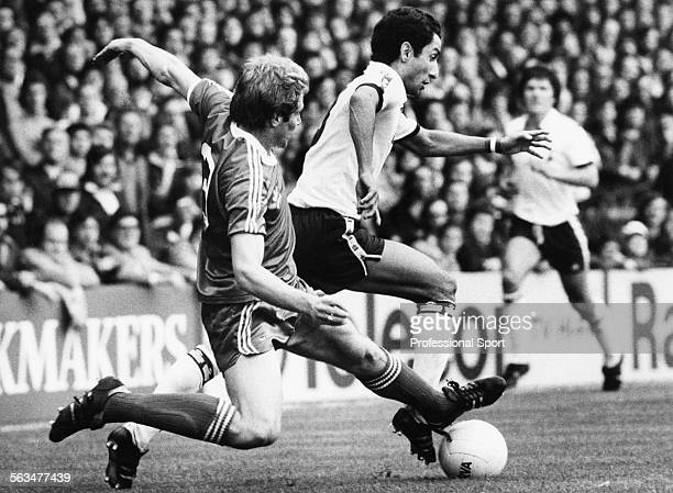 Tottenham Hotspur football player Osvaldo Ardiles is tackled by Middlesbrough fullback Ian Bailey during their First Division match at White Hart...