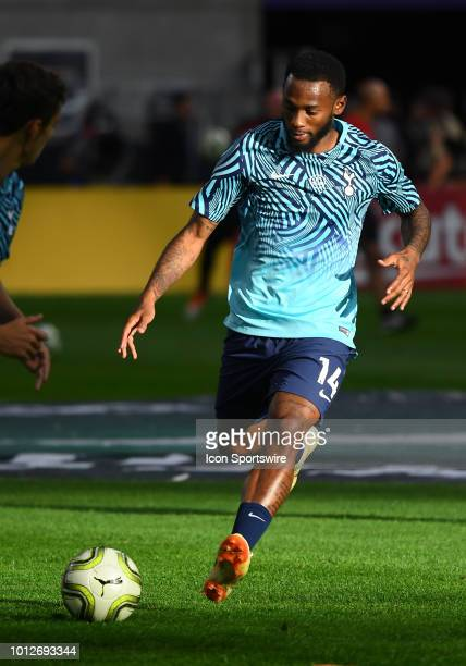 Tottenham Hotspur forward Georges-Kévin Nkoudou warms up during an International Champions Cup match between Tottenham Hotspur FC and AC Milan on...