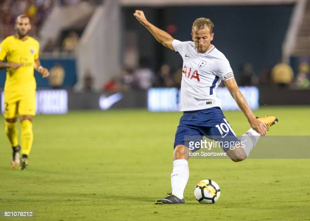 Tottenham Hotspur forward Harry Kane shots on goal during the International Champions Cup match between Tottenham Hotspur and Paris St Germain on...