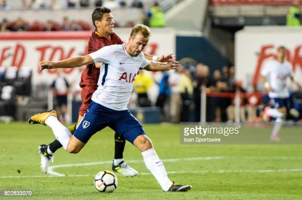 Tottenham Hotspur forward Harry Kane takes a shot during the second half of the International Champions Cup between Tottenham Hotspur and Roma on...