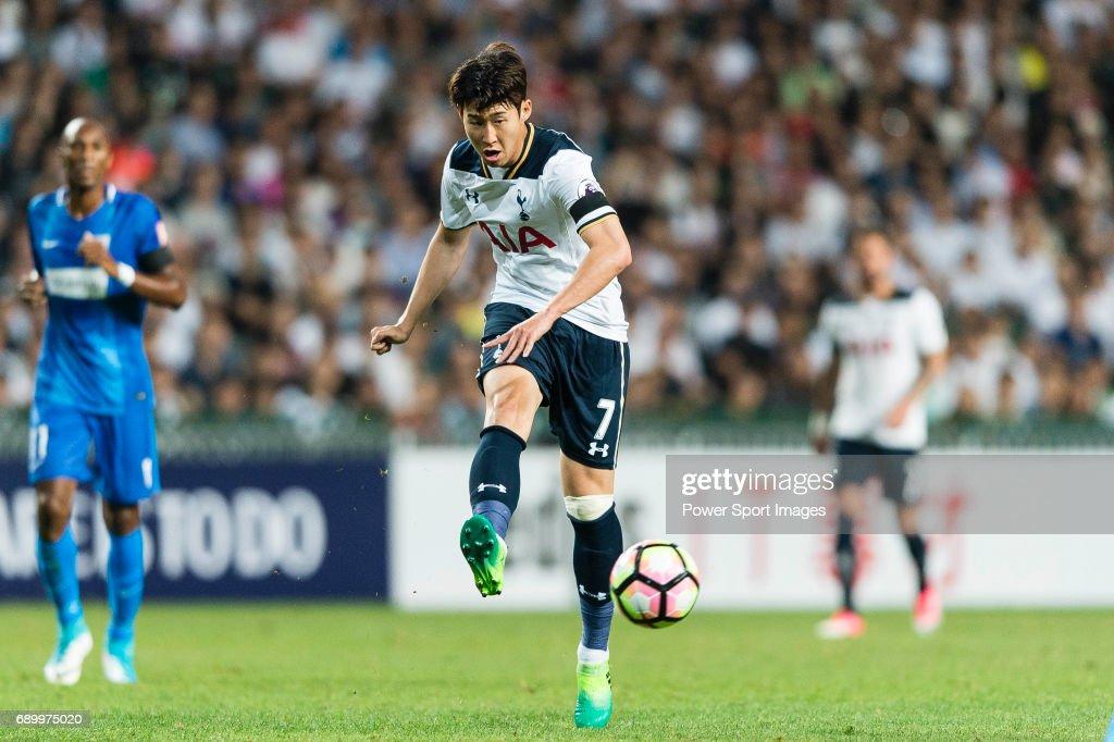 Tottenham Hotspur Forward Heung-Min Son (C) in action during the Friendly match between Kitchee SC and Tottenham Hotspur FC at Hong Kong Stadium on May 26, 2017 in So Kon Po, Hong Kong.