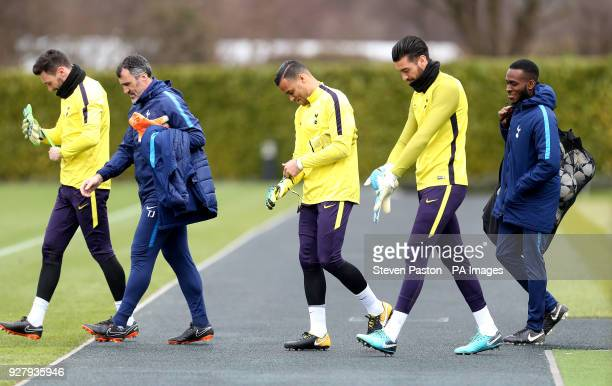 Tottenham Hotspur goalkeeper Hugo Lloris goalkeeper Michel Vorm goalkeeper Paulo Gazzaniga and goalkeeper coach Toni Jimenez during the training...