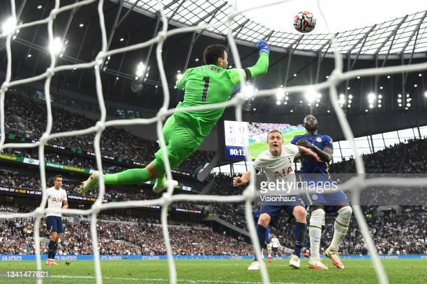 Tottenham Hotspur goalkeeper Hugo Lloris makes a flying save during the Premier League match between Tottenham Hotspur and Chelsea at Tottenham...