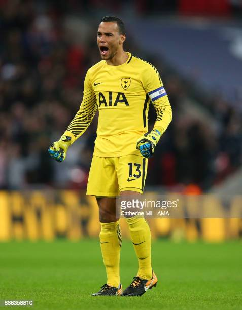 Tottenham Hotspur goalkeeper Michel Vorm celebrates during the Carabao Cup Fourth Round match between Tottenham Hotspur and West Ham United at...