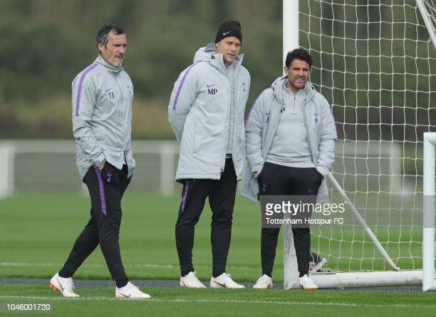 Tottenham Hotspur goalkeeping coach Toni Jimenez manager Mauricio Pochettino and assistant manager Jesus Perez during the Tottenham Hotspur training...
