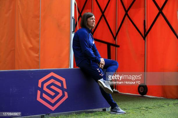 Tottenham Hotspur Head Coach Karen Hills during the Barclays FA Women's Super League match between Tottenham Hotspur and West Ham United at The Hive...