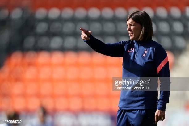 Tottenham Hotspur Head Coach Karen Hills during the Barclays FA Women's Super League match between Tottenham Hotspur and West Ham United at The Hive...