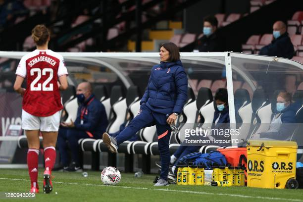 Tottenham Hotspur Head Coach Karen Hills during the Barclays FA Women's Super League match between Arsenal Women and Tottenham Hotspur Women at...