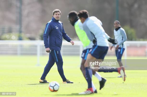 Tottenham Hotspur head coach Miguel D'Agostino during the Tottenham Hotspur training session at Tottenham Hotspur Training Centre on March 14 2018 in...