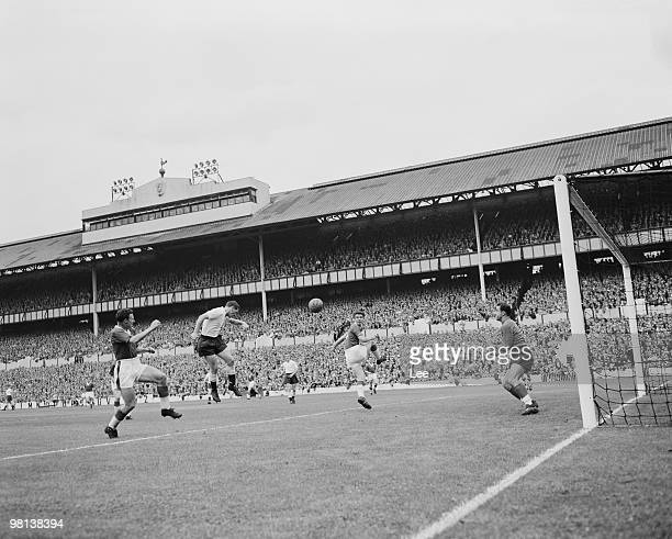 Tottenham Hotspur insideforward Les Allen makes an unsuccessful header towards the Everton goal during an English Division One match at White Hart...