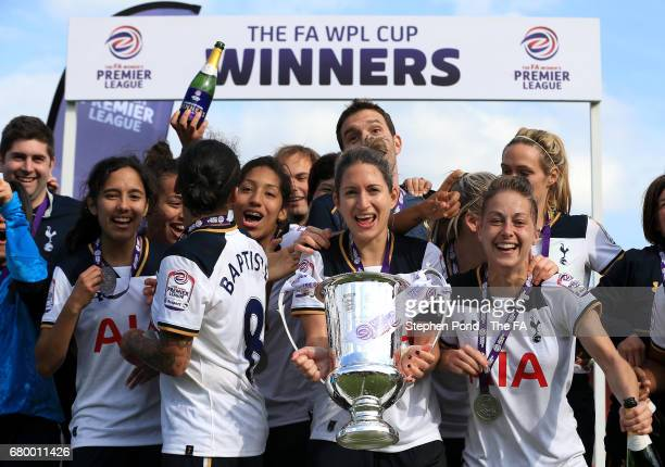 Tottenham Hotspur Ladies celebrate victory with the trophy during the FA Womens Premier League Cup Final match at The Lamex Stadium on May 7, 2017 in...