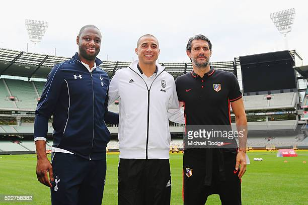 Tottenham Hotspur legend Ledley King Juventus legend David Trezeguet and Atletico de Madrid legend Jose Luis Perez Caminero pose during the...