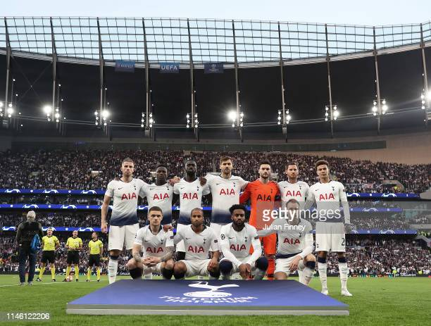 Tottenham Hotspur line up before the UEFA Champions League Semi Final first leg match between Tottenham Hotspur and Ajax at at the Tottenham Hotspur...